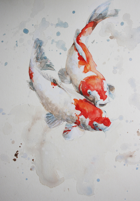 Two koi carp alex egan artist for Japanese koi carp paintings
