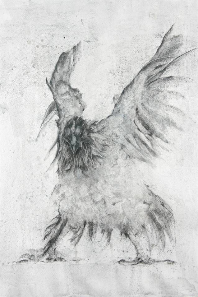 FlappingHen_Charcoal_70x60cm